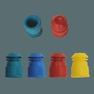 Plastic dopjes voor reageerbuizen